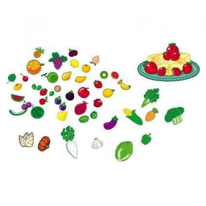 free vector Lovely fruit and vegetables vector