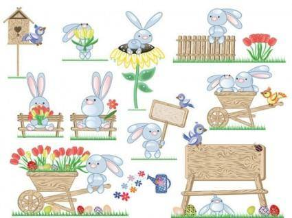 Cute bunny easter eggs vector 2