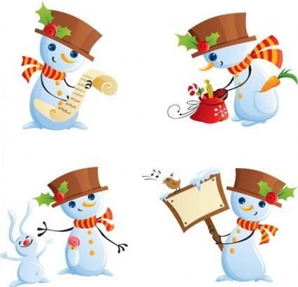 free vector Cute snowman vector
