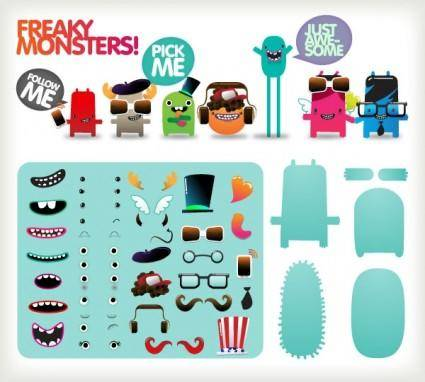 free vector Free to dress the little monster vector