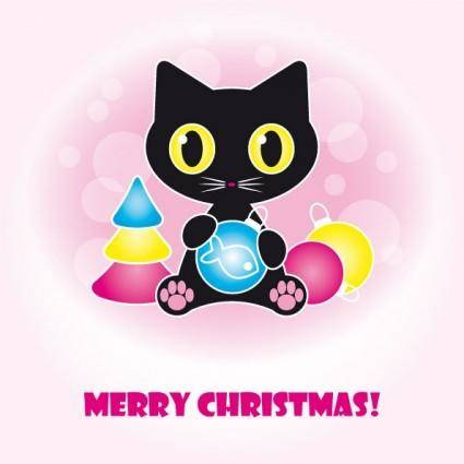 Cute black cat clip art