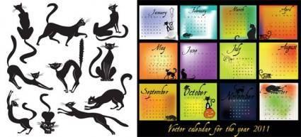 free vector Calendar 2011 black theme vector