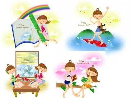 Children summer vector 1
