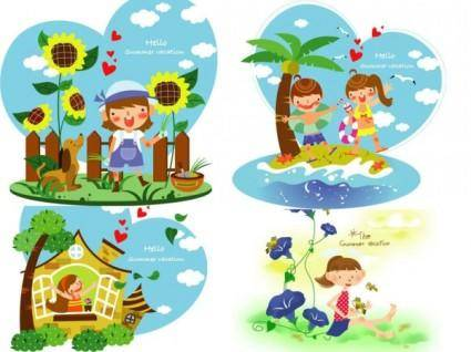 Children summer vacation vector 2