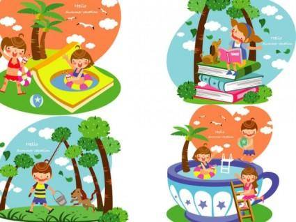 free vector Children summer vector 4