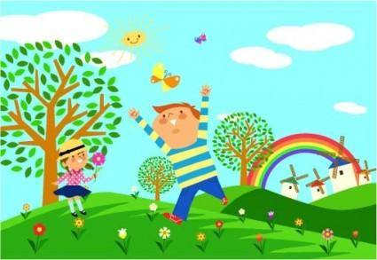 free vector Children environmental vector 1