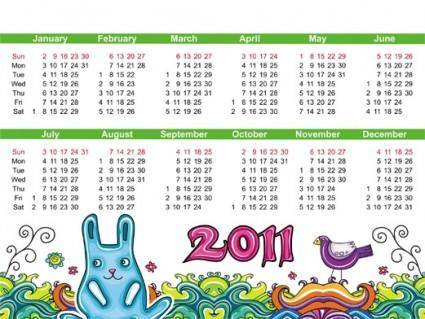 Lovely handdrawn calendar 2011 vector