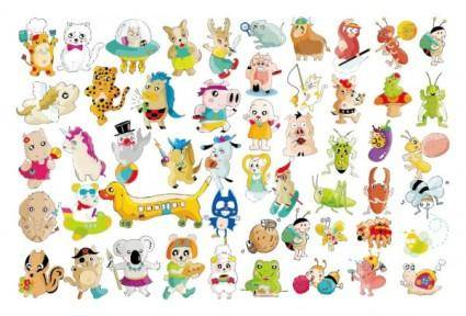 A variety of super cute animals vector