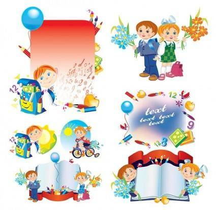 free vector School children illustrator vector