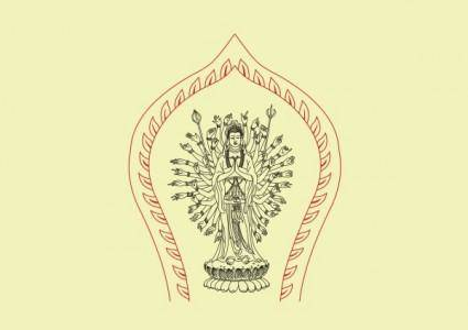 Vector avalokitesvara line drawings