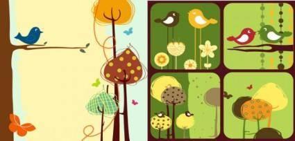 Colorful bird theme vector