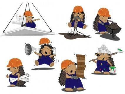 free vector Construction workers vector cute hedgehog