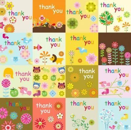 free vector Super cute thank you card vector