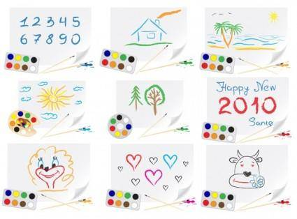 free vector Cute children drawings theme vector