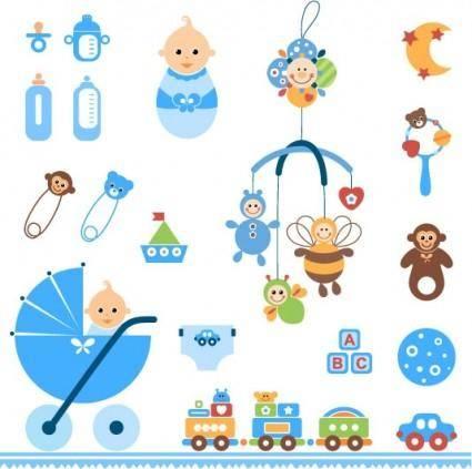 free vector Cute baby toys vector