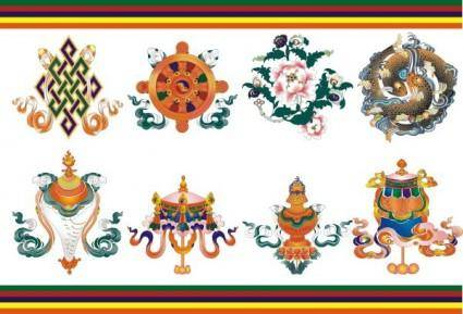 Tibetan auspicious eight baby umbrella goldfish aquarius lotus white conch the lucky knot victory buildings kingland