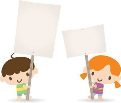 free vector Children placards vector