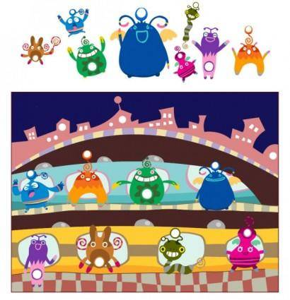 free vector Cute monsters vector