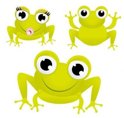 Green frog with big eyes vector