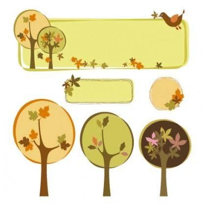 free vector Trees decorative box vector subject