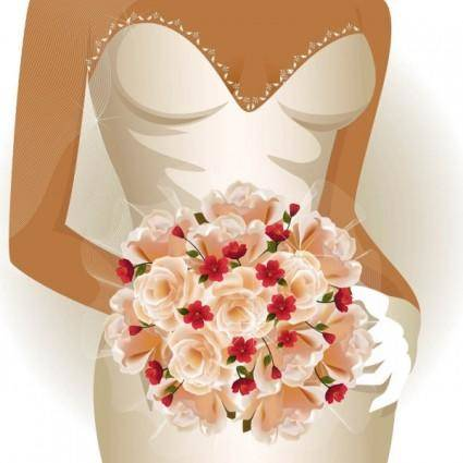 free vector Charm of the bride wedding elements 02 vector