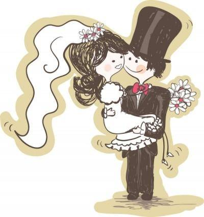 Handpainted version of the bride and groom 03 vector