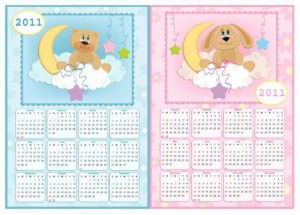 Lovely 2011 calendar poster vector
