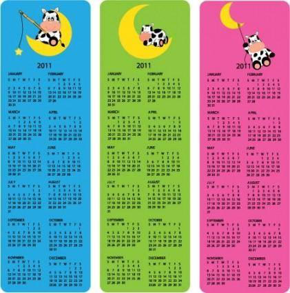 Lovely 2011 calendar poster vector 2