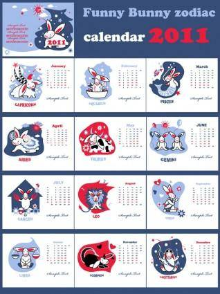 free vector Calendar 2011 year of the rabbit lovely vector