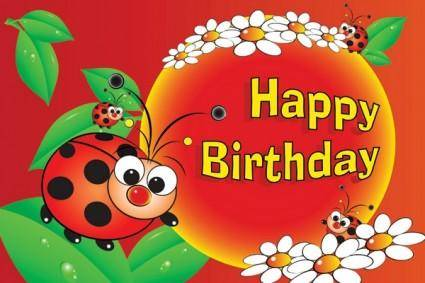 Cute birthday greeting map vector