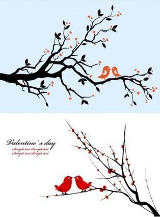 A pair of birds on branches vector