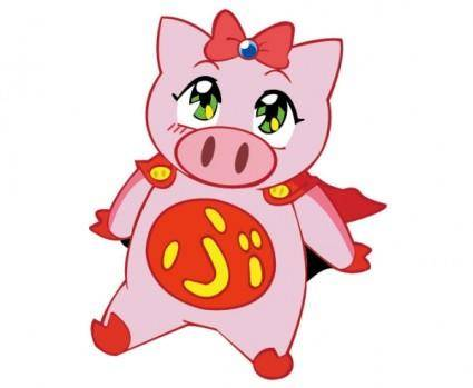 free vector Flying pig vector girl