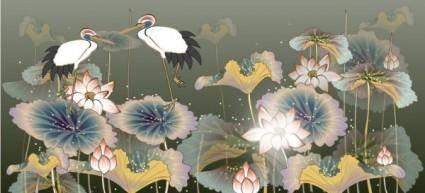 free vector White crane and lotus vector