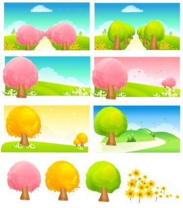 free vector Seasonal changes of trees vector