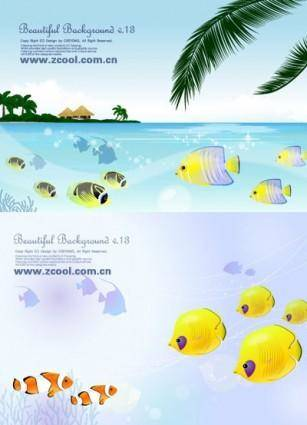 free vector Tropical fish theme vector