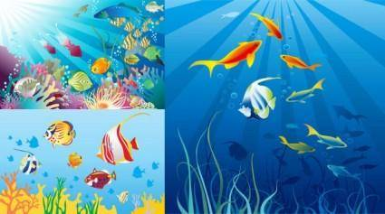 free vector Vector beautiful underwater world