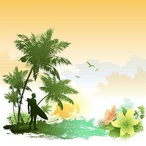 Super beautiful seaside scenery vector