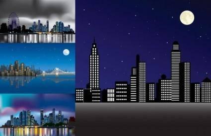 Vector night city under