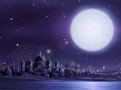 free vector Under the full moon the ancient city of vector ancient city under full moon
