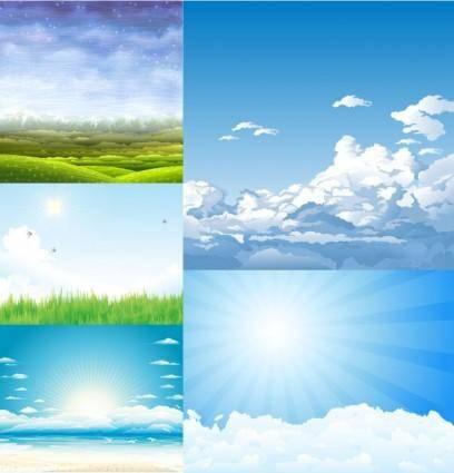 free vector 5 beautiful sky theme vector