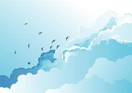 free vector Big blue sky scenery vector of wild geese