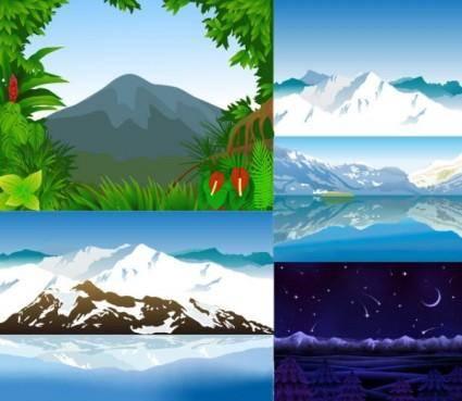 free vector Vector mountains