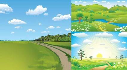 3 natural scenery vector