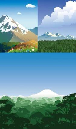 free vector Mountain scenery vector