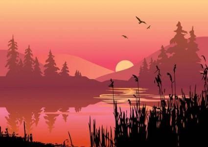 Vector lake at dusk