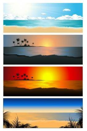 free vector Beautiful coastal scenery 02 vector