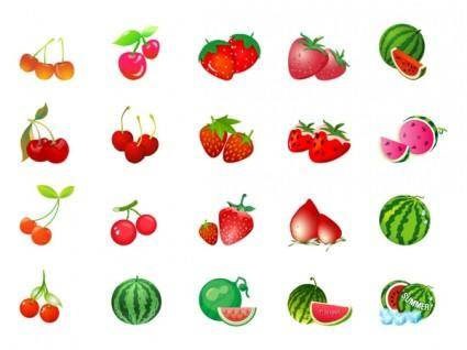 free vector Cherry strawberry watermelon vector
