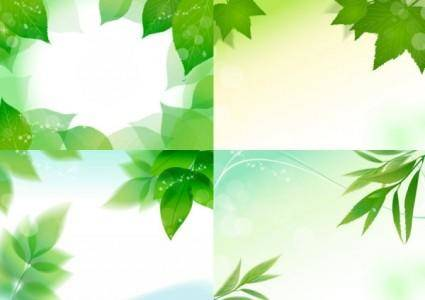 4 vibrant leaves vector