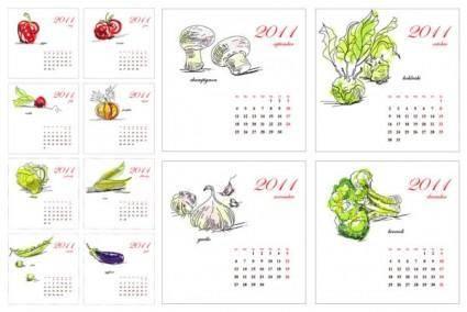 free vector 2011 calendar of vegetables vector hand