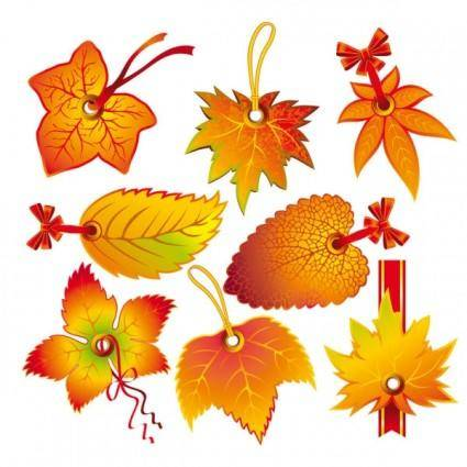 free vector Beautiful leaves 2 tag vector